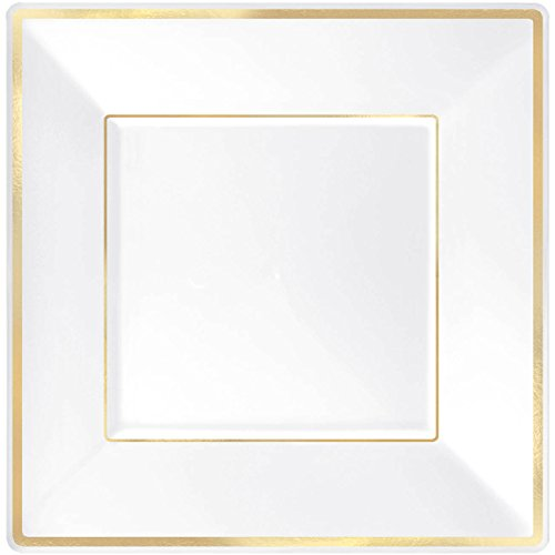 Elegant Square Plastic Plate Party Tableware and Reusable Dishware, White with Gold Trim, 10