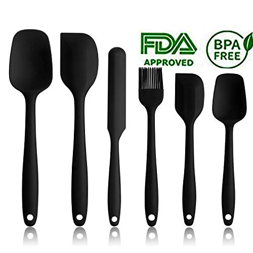 - Silicone Spatula Set - 6 Piece Non-Stick Rubber Spatula Set with Stainless Steel Core - Heat-Resistant Spatula Kitchen Utensils Set for Cooking, Baking and Mixing - Black