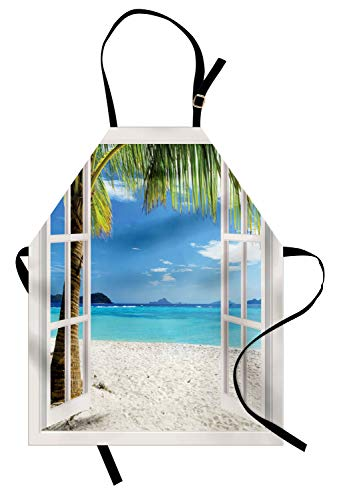 Ambesonne Turquoise Apron, Tropical Palm Trees on Island Ocean Beach Through White Wooden Windows, Unisex Kitchen Bib Apron with Adjustable Neck for Cooking Baking Gardening, Blue Green and White ()