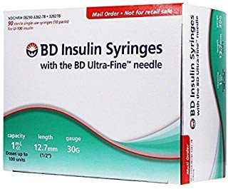 BD Ultra-Fine Insulin Syringes, 30 Gauge 1 cc 1/2