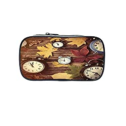 Customizable Pen Bag,Fall Decor,Different Colored Dry Maple Leaves Various Alarm Clocks on Wooden Planks Print Decorative,Multicolor,for Kids,3D Print Design