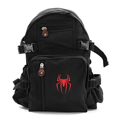 Spiderman Symbol Army Sport Heavyweight Canvas Backpack Bag in Black & Red, Large ()