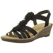 Rieker Mujer Sandalias de Vestir 62461, señora Sandalias de cuña, Zapatos del Verano,cómodo,tacón Alto,Schwarz/Schwarz / 00,42 EU / 8 UK