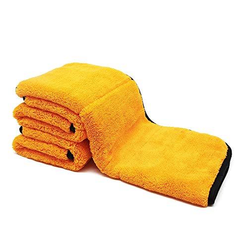 Auto Care 800GSM Super Thick Microfiber Car Cleaning Cloth Detailing Towel (Orange/Gray-3PCS)