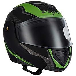 Vega Crux DX Checks Full Face Helmet (Dull Black and Green, L)