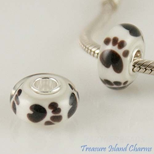 Buy european murano pawprint sterling silver beads