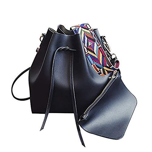 Black Bucket Bag - Women's PU Leather Drawstring Bucket Bag Crossbody Bag Shoulder Bag Purse With Colorful Strap