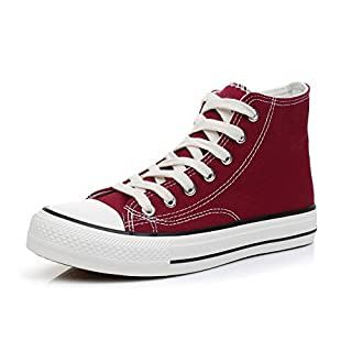 Cull4U Women's Rainbow High-Top Sneakers Shoes (6.5 M US,Burgundy)