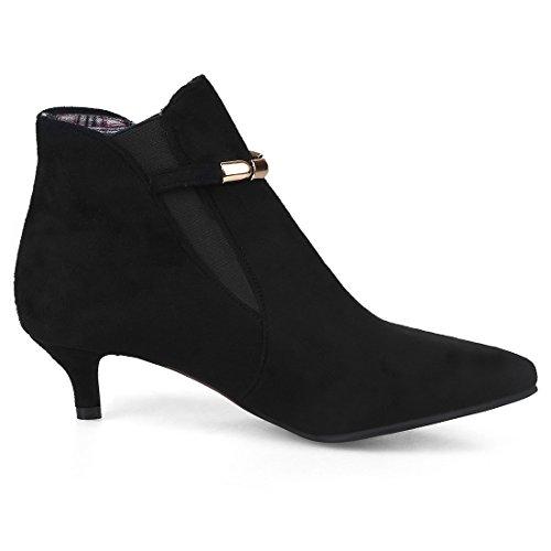 Shoes Elegant Ankle Toe Court Shoes Women's Kitten Artfaerie Black Heel Slip Boots Pointed On Uw8WqTz