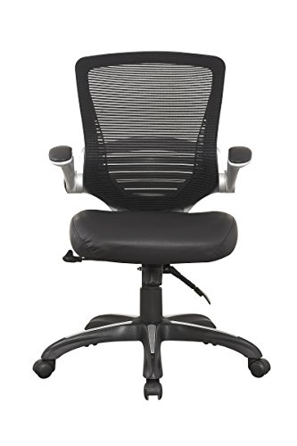 Manhattan Comfort Walden Collection Adjustable Swivel PU Leather Ergonomic Office Chair, Black Mesh