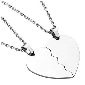 PiercingJak Lot de 2 Colliers Cœur Couple Amitié Amoureux Pendentif Gravure Personnalisée Puzzle Séparable Acier…