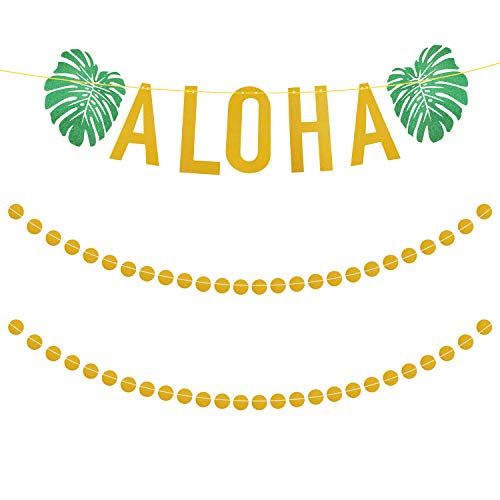 (KissDate 3 Meter Glitter ALOHA Hawaiian Banner, Gold Circle Dots and Green Leaves Luau Garland for Tropical Summer Pool Beach Birthdays Party Decorations Supplies)