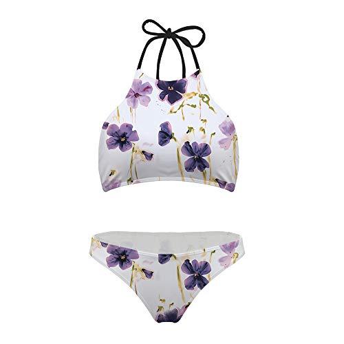 Mumeson Women's Juniors Pinup Bikini Set Swimsuit Vintage Flower Printed 2-pc High Cut Halter Neck Flattering Swimwear -