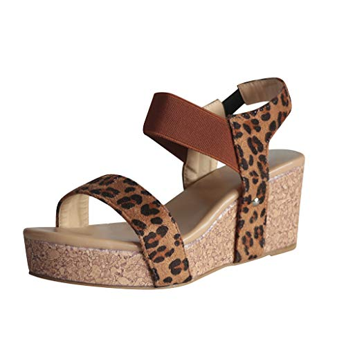 - Wedges Shoes for Women Sandals,LYN Star❤ღ♕Women's Platform Sandals Espadrille Wedge Ankle Strap Studded Open Toe Sandals Brown