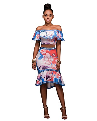 Floral Ruffle Skirt (Women Sexy Ruffle Crop Top Mermaid Skirt Floral Bodycon Clubwear 2 Pieces)