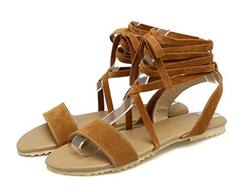 Aisun Donna Elegante Comode Open Toe Dressy Gilly Tie Wrap Flat Sandali Gladiatore Scarpe Marrone