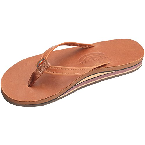 Rainbow Sandals Women's 2 Tone Leather Double Stack Narrow Strap, Tan, Small - Comfort Rainbow Classic