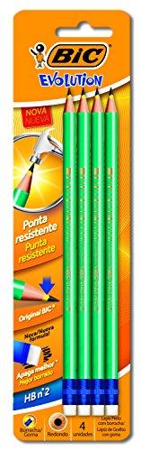 Lápis Preto Evolution Pijama. Corpo listrado em seis diferentes combinações divertidas - 4 unidades