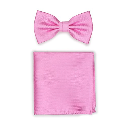 Bows-N-Ties Men's Solid Pre-Tied Bow Tie and Pocket Square Set Matte Herringbone Finish (Carnation Pink)