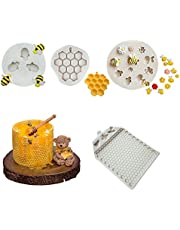 UgyDuky 4Pack Bumble Bee Silicone Mold Honeycomb Bees Silicone Fondant Cake Mold, Beehive Silicone Baking Molds, Silicone Flower Cupcake Topper, Candy Mold, Polymer Clay, Crafting, Sugarcraft Mould