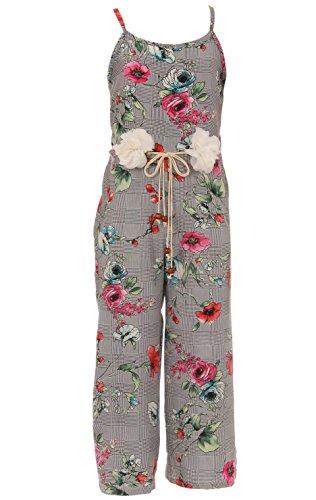 BluNight Collection Big Girls Sleeveless Flower Floral Print Jumpsuit Handmaid Belt Jumpsuit Romper Coral 8 (2J1K2S7) (Floral Meyers Print)