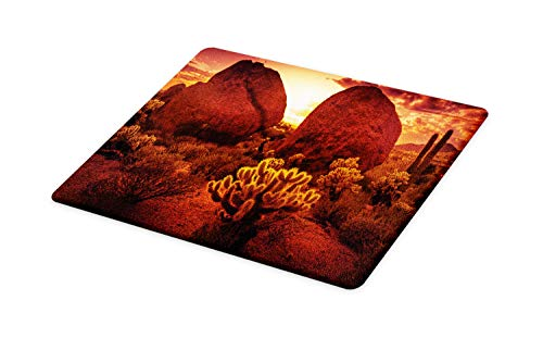 Ambesonne Saguaro Cutting Board, Dramatic Desert Scenery Like Burnt by Sun near Scottsdale Hot Rocks Serene Western Image, Decorative Tempered Glass Cutting and Serving Board, Large Size, Red