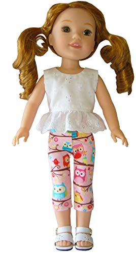 Capris Doll Clothes - for 14.5 inch American Girl Wellie WISHERS Doll Clothes 3 Piece Pink Owl Capri Outfit