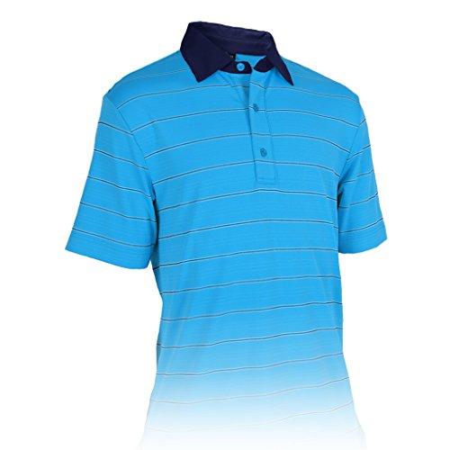 Monterey Club Mens Dry Swing Multi Color Pinstripes Texture Shirt #3601 (Ash Blue/White, 3X-Large)