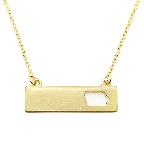 Cheap Hawkeye Costumes (Patriotic United States: State-Shaped Rectangular Cut-Out Pendant Necklace: Iowa Gold-Tone)
