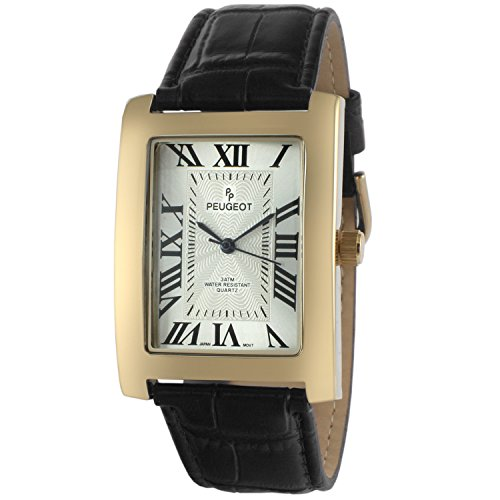 Peugeot Men's Vintage Rectangular 14K Gold Plated Black Leather Strap - Men Face Rectangular