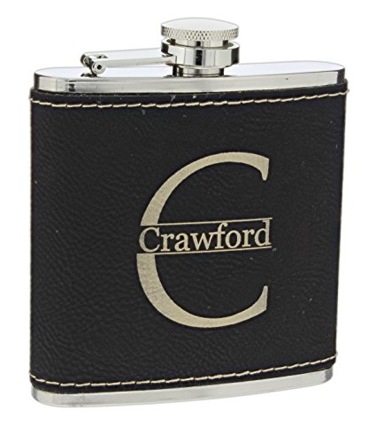 (Personalized Laser Engraved Leatherette Flask 6 Ounces Stainless Steel)