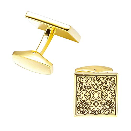 JIA-WALK 3 Pairs French Style Golden Rose Cufflinks for Mens Shirt Suit Cuff Buttons Top Sale Cuff Links Gold (Real Metal Iron Man Suit For Sale)