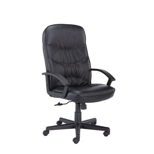 Leather Office Chair with Loop Arms Back: High-Back