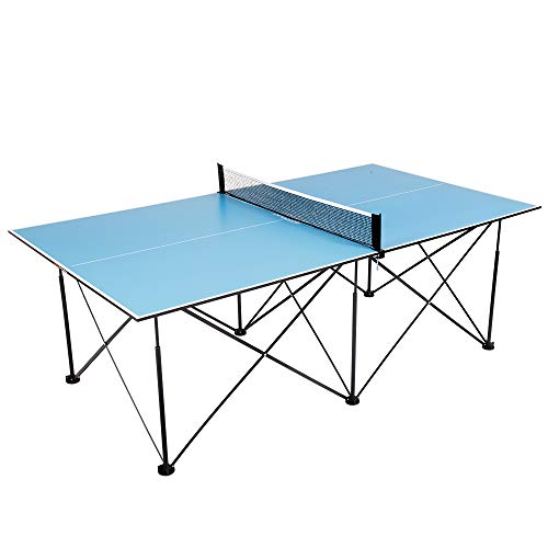 (ping pong 7' Instant Play Pop-Up Compact Table Tennis Table with No Tools or Assembly Required - Blue)
