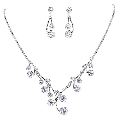 EleQueen Women's Cubic Zirconia Filigree Flower Bridal Necklace Earrings Jewelry Set Silver-tone Clear by EleQueen