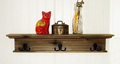 """Modern Rustic Wood Coat Rack Wall Shelf 24"""""""
