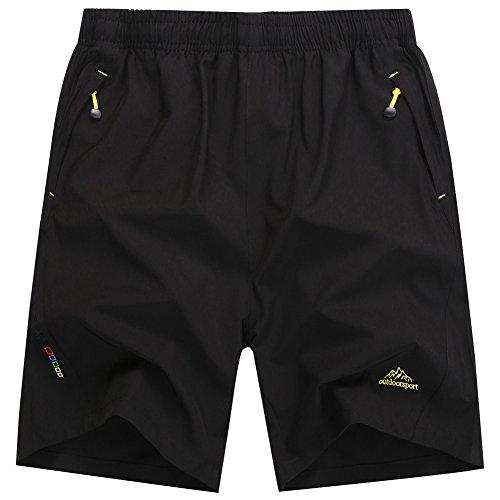 Rewalker Men's Outdoor Quick Dry Lightweight Workout Running Shorts Zipper Pockets (Black, (Lightweight Zipper)