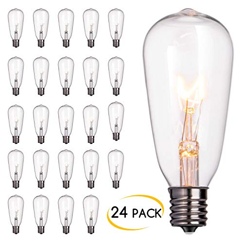 (24-Pack Edison Replacement Light Bulbs,7-watt E17 Screw Base ST40 Replacement Clear Glass Light Bulbs for Outdoor Patio ST40 String Lights, Warm White)