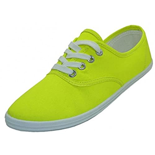 EasySteps Women's Canvas Lace Up Shoes with Padded Insole, Neon Yellow, US  Women's 9 B(M) US