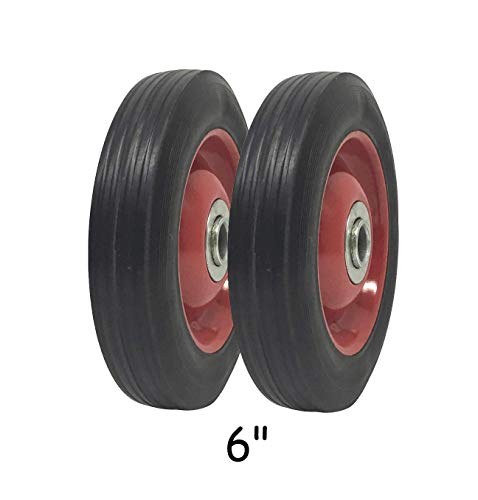 - 2 Pack - Solid Rubber Flat Free Tire 6