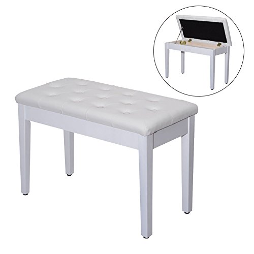 Leather Padded Piano Bench w/ Storage Double Duet Seating Keyboard White