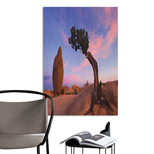 Poster Sticker Americana Bonsai Trees Twilight Blue Hour Peaceful Nature Rock Formation Violet Blue Pink Pale Brown Creative Self-Adhesive W24 x H36 ()