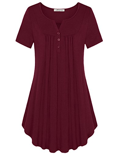 - SeSe Code Burgundy Tunic Ladies Short Sleeve Crew Neck Shirts Button Decoration Front Pleats Classic A Line Flared Hem Comfy Stretchy Material Leisure Cotton Snappy Tops Red Wine Medium