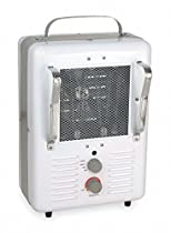 Dayton 8 x 10 x 16 Fan Forced Electric Space Heater, White/Gray, 120VAC