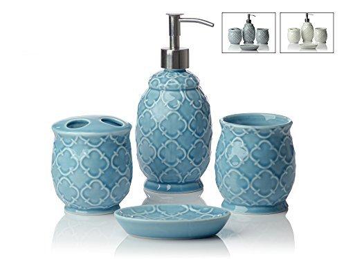 Comifify Morrican porcelain Bathroom set Turqoise blue