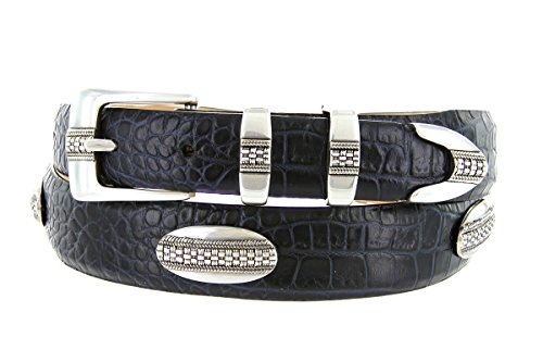 St. Andrews Silver - Italian Alligator Embossed Golf Belt with Conchos (Alligator Navy, 38) (Golf Concho Belts)
