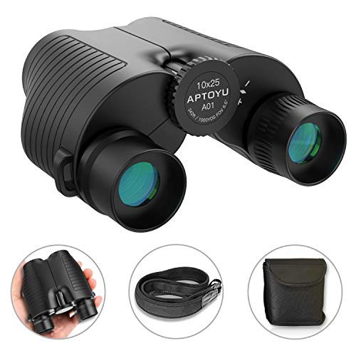 Compact Binoculars for Adults/Kids, 10x25 HD Roof Prism Folding Binoculars with Weak Light Night Vision for Bird Watching Hunting Hiking Concert Sports Travel, BAK4 Prism FMC Lens, Life Waterproof