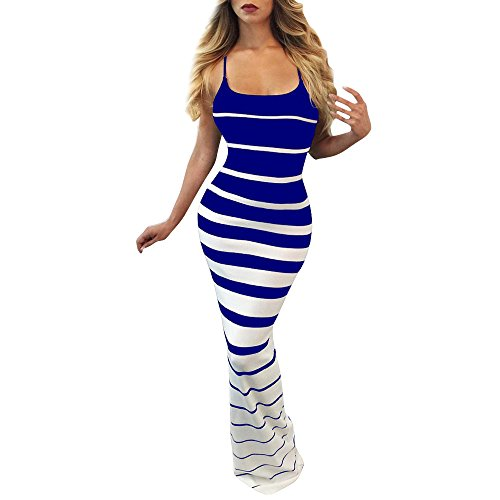 Women Tank Tops Dresses Lady Stripe Bodycon Sleeveless Evening Party Long Maxi Dress (M, Blue)