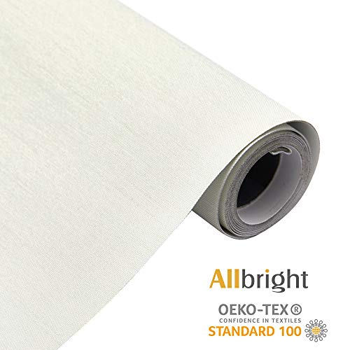 ALLBRIGHT 100%Blackout Manual Roller Shades Waterproof Fabric Roller Shades for Windows, Oeko_TEX Standard 100, 23″ Wx 83″ H, Ivory White