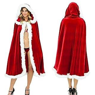 MuNiSa Christmas Costume Mrs. Santa Claus Cardigan Velvet Hooded Cape Cloak (L (Length 59.06'')) (B01MRIWM4R)   Amazon price tracker / tracking, Amazon price history charts, Amazon price watches, Amazon price drop alerts
